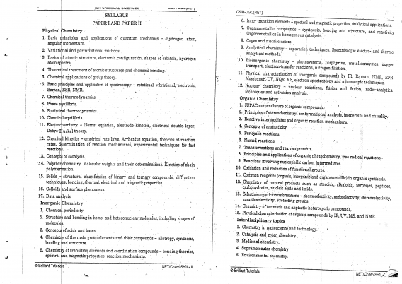 Brilliant Tutorials Chemistry Optional Printed Notes