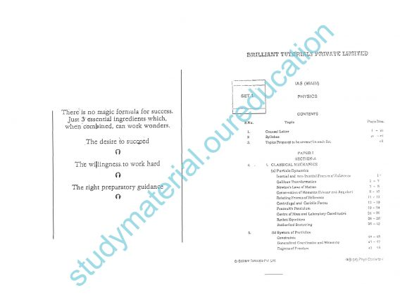 PHYSICS Optional Brilliants Tutorial Printed Material